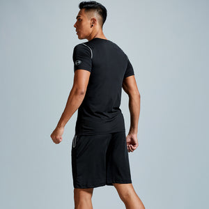 Men's plus size running sportswear summer two-piece quick-drying short-sleeved breathable fitness training suit. SR-06M