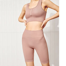 Load image into Gallery viewer, Women's tight-fitting buttocks yoga training suit, hip-lifting fitness sports bra and shorts set. YS-061