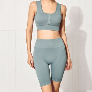 Women's tight-fitting buttocks yoga training suit, hip-lifting fitness sports bra and shorts set. YS-061