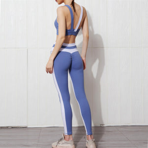 Contrasting Stitching Two-piece Yoga Suit. YS-064