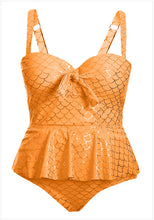 Load image into Gallery viewer, Big size conservative cover up swimsuit bra strap fat sister split suit. SW-008