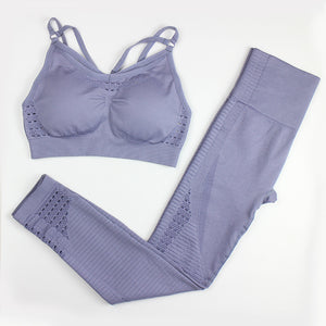 Two-piece Solid Color Seamless Yoga Suit. YS-072