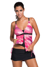 Load image into Gallery viewer, Color block splicing vest style high waisted split body bathing suit for women. SW-010