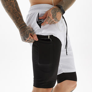 Men's Double Layer Anti-light Running Shorts. SR-23M