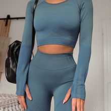 Load image into Gallery viewer, Tight-fitting Sexy Long-sleeved Yoga Suit with Navel. YS-093