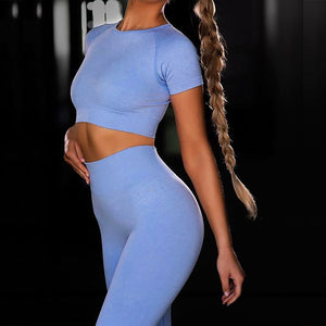 INS seamless knitted fitness sports short-sleeved yoga wear women. YS-063