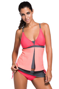 Color block splicing vest style high waisted split body bathing suit for women. SW-010