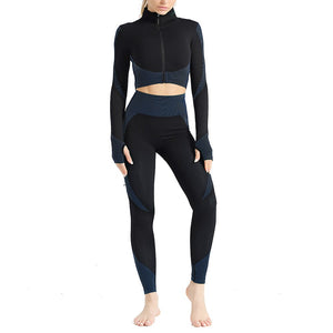 Sports Zipper Seamless Yoga Clothing Suit. YS-037