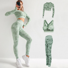Load image into Gallery viewer, Four Seasons Camouflage Yoga Three-piece Suit. YS-090