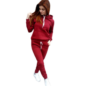 Women's Fleece Hooded Sweatshirt Sports Suit. SR-22W