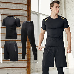 Men's short-sleeved quick-drying three-piece fitness suit, tights training suit morning run fitness sportswear. SR-04M