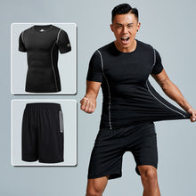 Load image into Gallery viewer, Men's plus size running sportswear summer two-piece quick-drying short-sleeved breathable fitness training suit. SR-06M