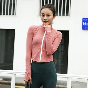 Autumn and Winter Zipper Long Sleeve Yoga Jacket. YT-038