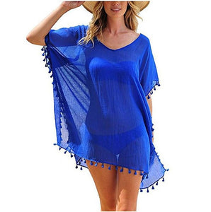 Ladies Chiffon Tassel Sexy Beach Blouse. SW-038