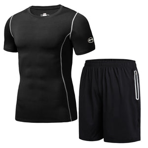 Two-piece Short-sleeved Men's Fitness Suit.  SR-10M