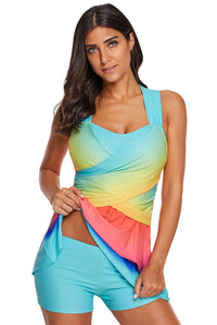 Conservative lady's gradient color swimsuit, belly-covering skirt split swimsuit. SW-002
