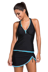 V-neck Halterneck Open Back Split Swimsuit. SW-003