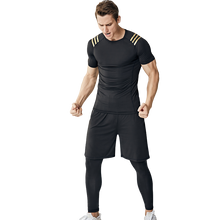 Load image into Gallery viewer, Men's short-sleeved quick-drying three-piece fitness suit, tights training suit morning run fitness sportswear. SR-04M