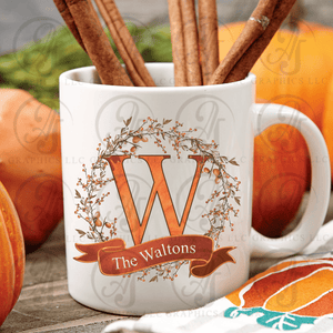 Acorn Wreath Monogram Coffee Mug
