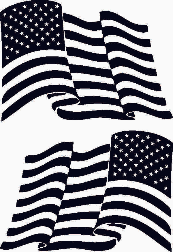American Flag Waving Set