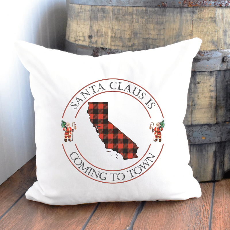 Santa Clause is Coming to Town Buffalo Plaid State Pillow