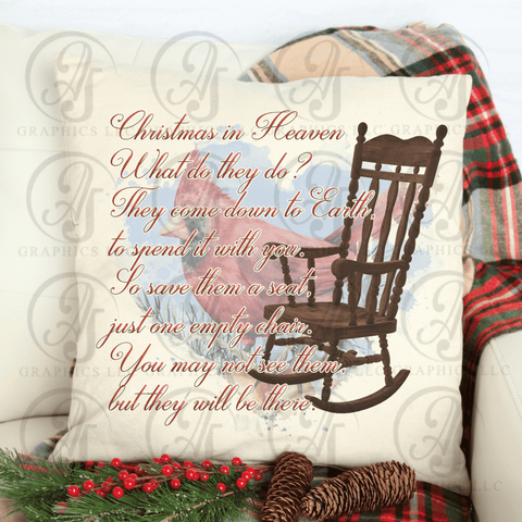 Christmas in Heaven Poem Pillow