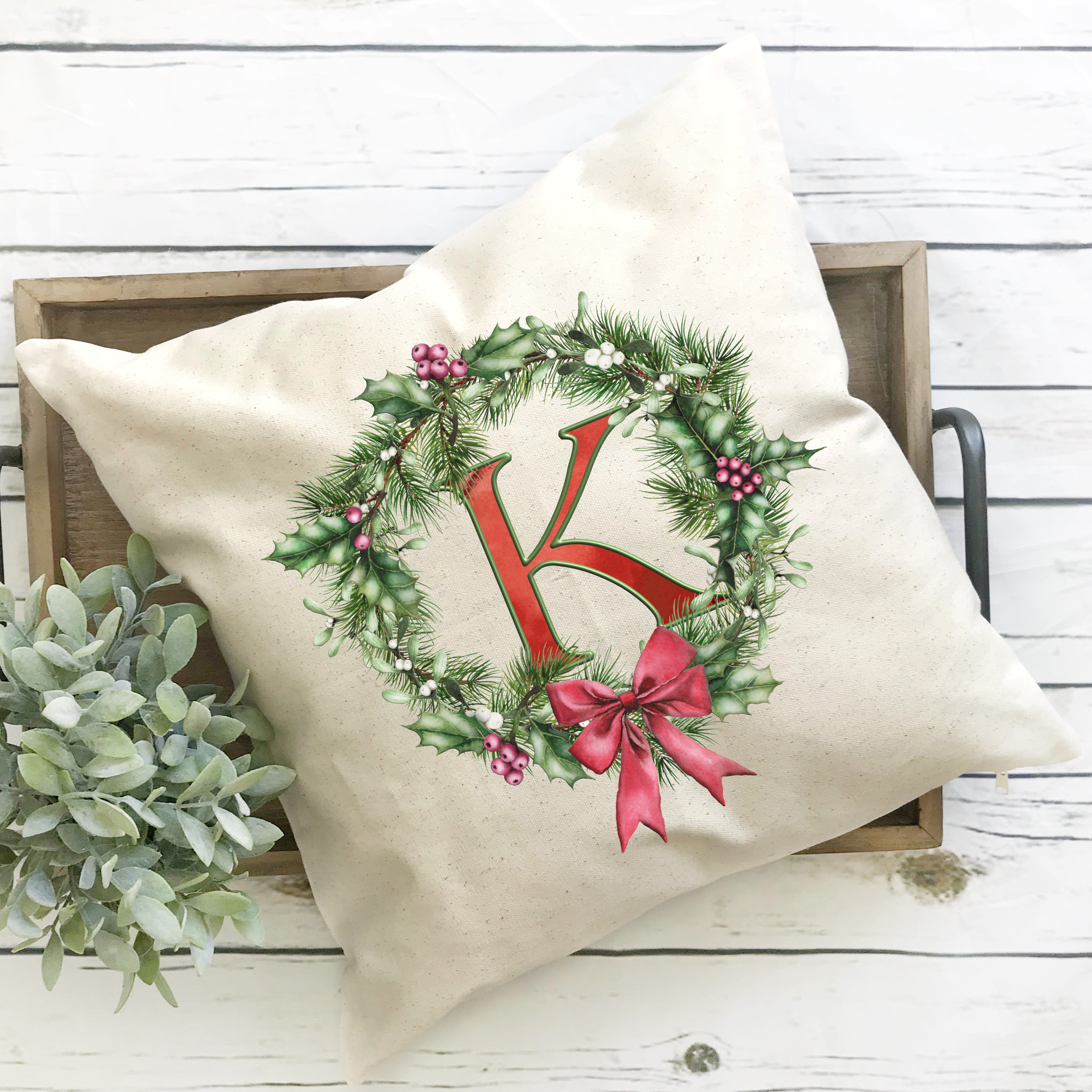 Christmas Wreath Monogram Pillow