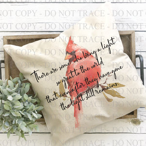 Cardinal Memorial Light Poem Pillow