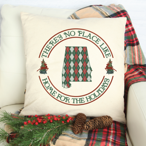 There's No Place Like Home For The Holidays State Red and Green Knit Sweater State Pillow