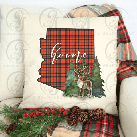 Christmas Reindeer with Red Plaid State Pillow