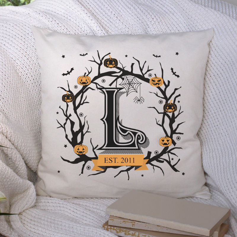 Spooky Halloween Monogram Pillow