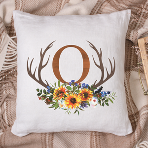 Watercolor Antler Fall Flowers Monogram Pillow