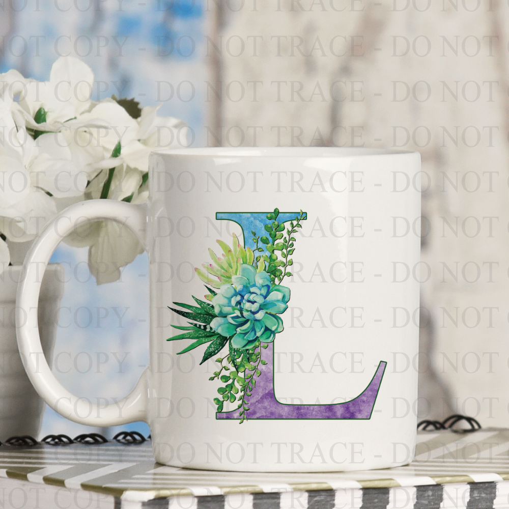 Watercolor Succulent Monogram Coffee Mug
