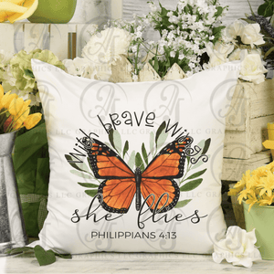 With Brave Wings She Flies Pillow