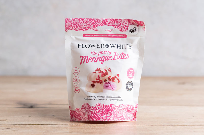 FLOWER & WHITE Raspberry Meringue Bites 75g