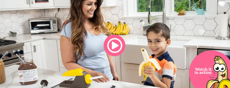 An image of a woman and her child using a Banana Loca® that triggers a video when clicked