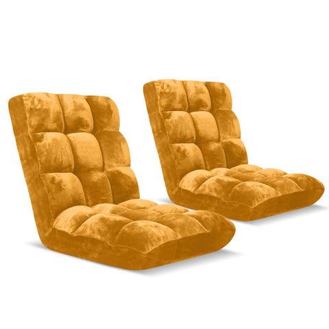 Floor Recliner Folding Lounge Sofa Apricot x2