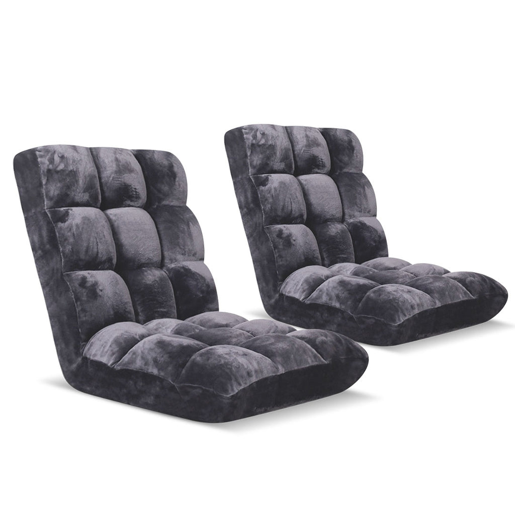 Floor Recliner Folding Lounge Sofa 2x Grey
