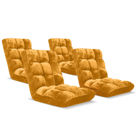 Floor Recliner Folding Lounge Sofa Apricot x4