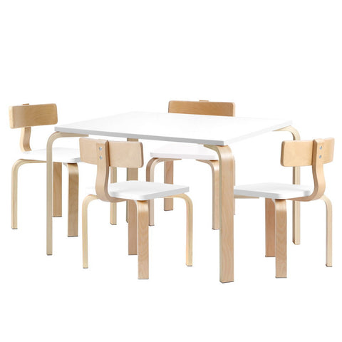 5PCS Childrens Table and Chairs Set - White