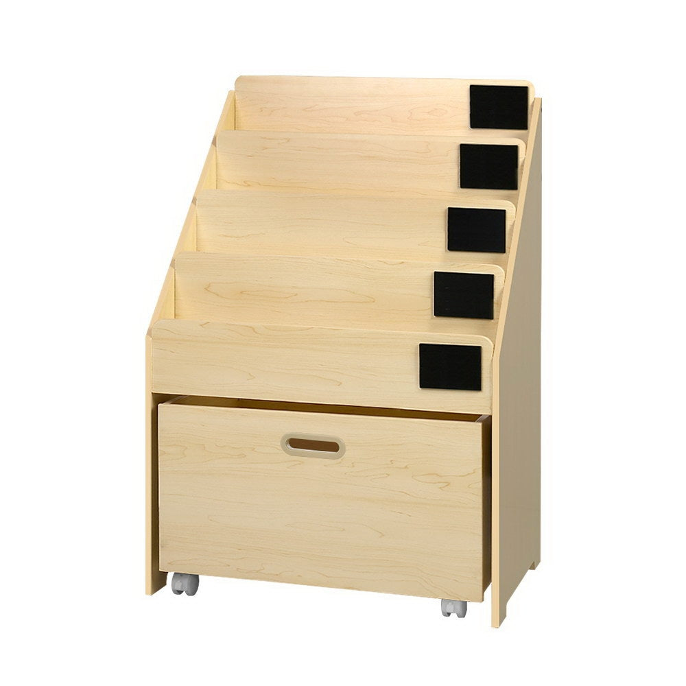 Kids Bookshelf Organiser Storage Shelf Wooden Beige