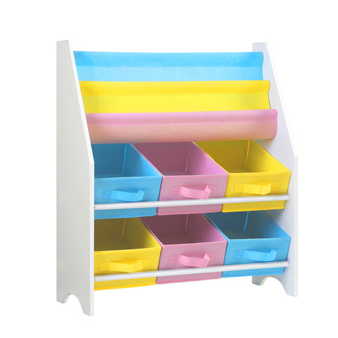 Kids Bookcase Toy Storage Organizer 2 Tiers Shelves