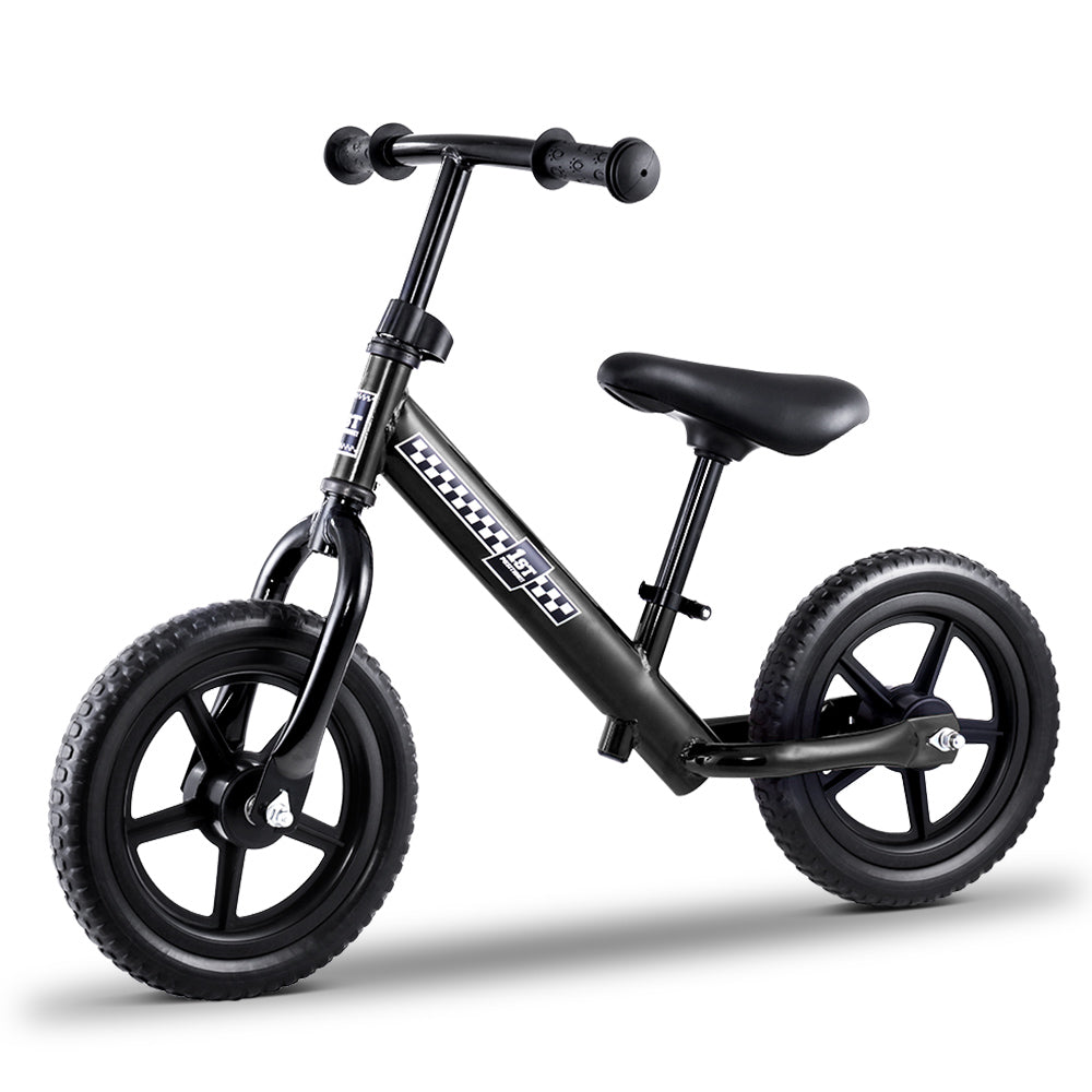 "Kids Balance Bike Ride On Toys Push Bicycle Wheels Toddler Baby 12"" Bikes Black"