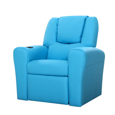 Luxury Kids Recliner Sofa PU Couch Armchair Blue