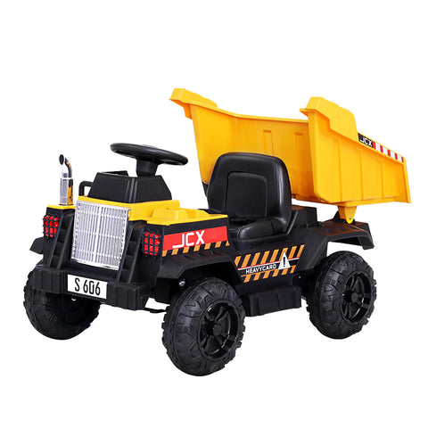 Kids Ride On Car Dump truck 12V Electric Bulldozer Toys Cars Battery Yellow