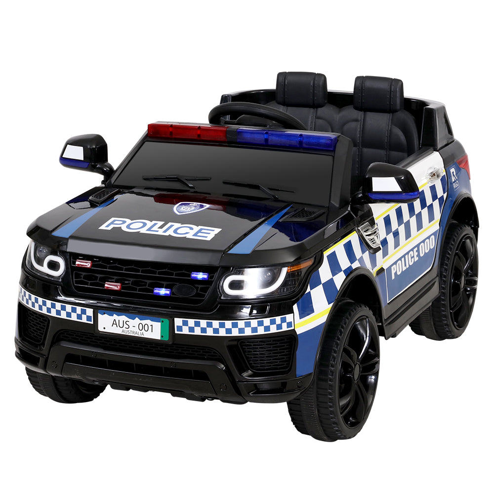 Kids Ride On Car Inspired Patrol Police Electric Powered Toy Cars Black