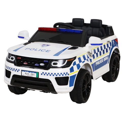 Kids Ride On Car Inspired Patrol Police Electric Powered Toy Cars White