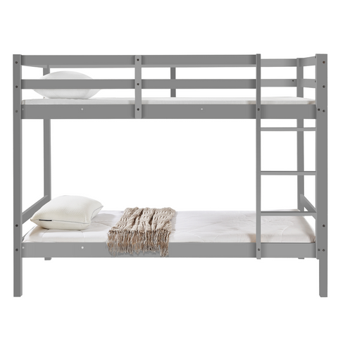 Tracey Solid Pinewood Kids' Single Bunk Bed Dark Grey