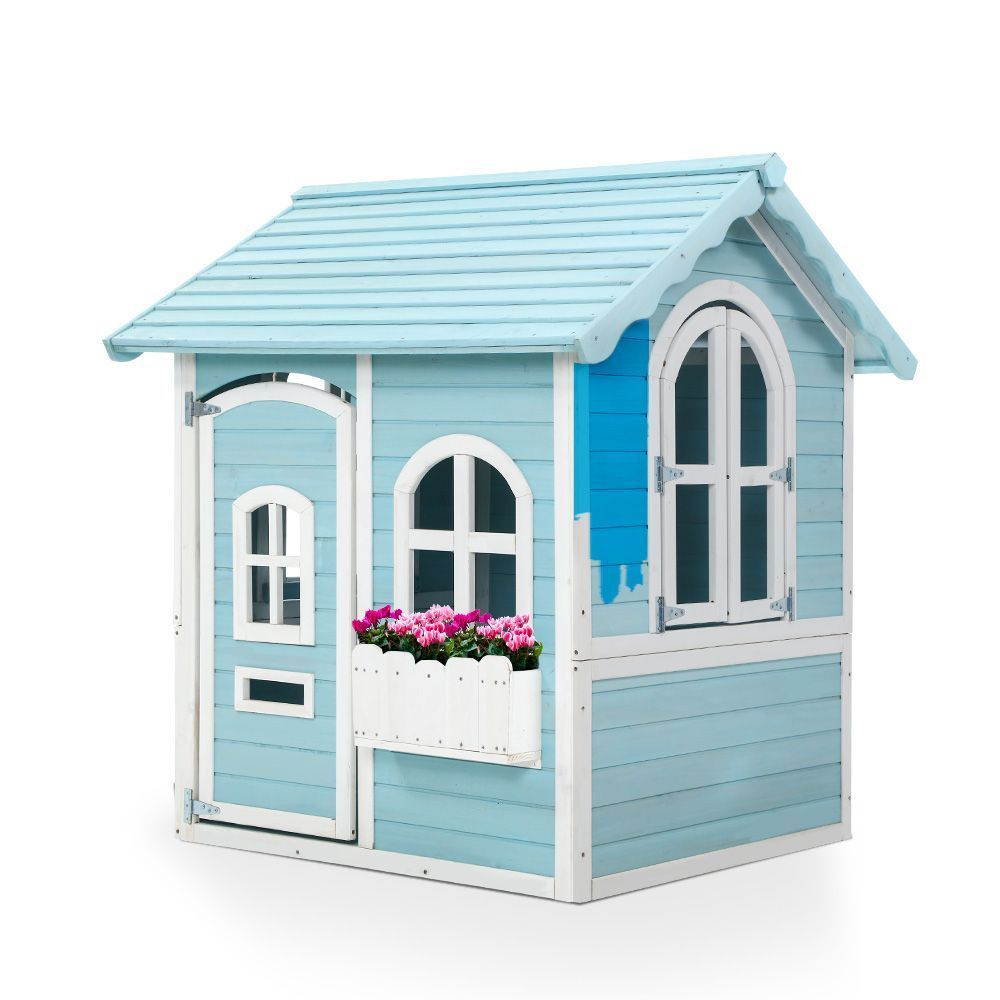 Kids Wooden Cubby House Outdoor Playhouse Pretend Play Set Childrens Toy