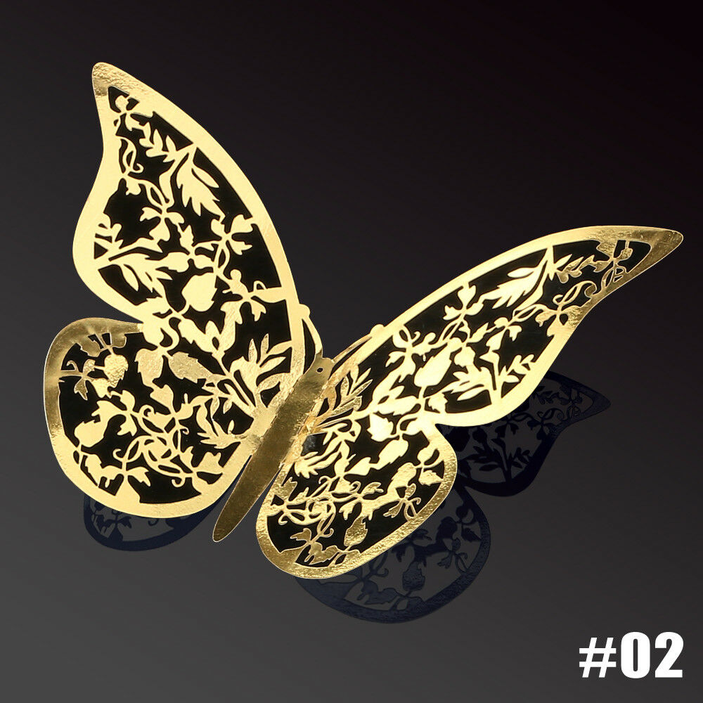 12Pcs 3D DIY Wall Decal Stickers Butterfly  (GOLD #2)